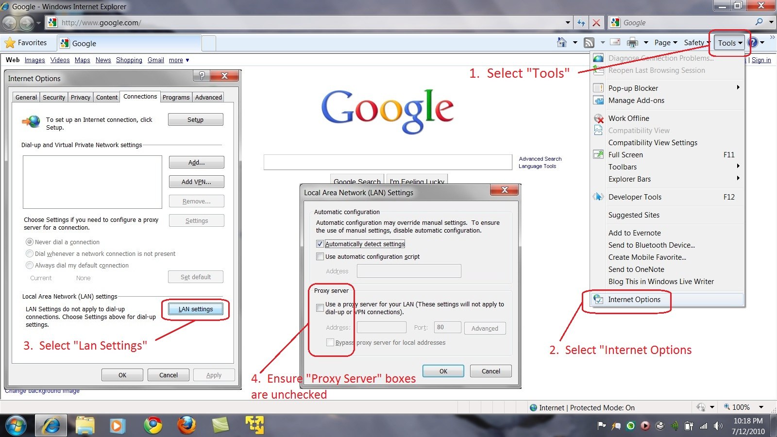 How to Change Internet Browser Proxy Settings After a