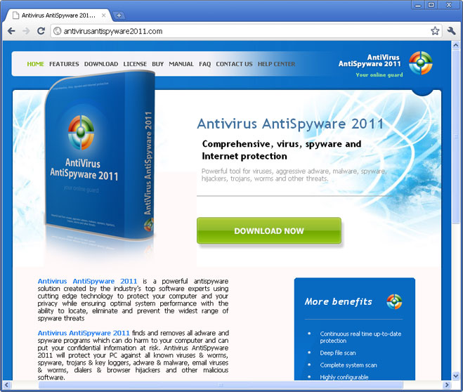 Antivirus Antispyware 2011 website