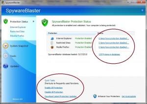 SpywareBlaster main page