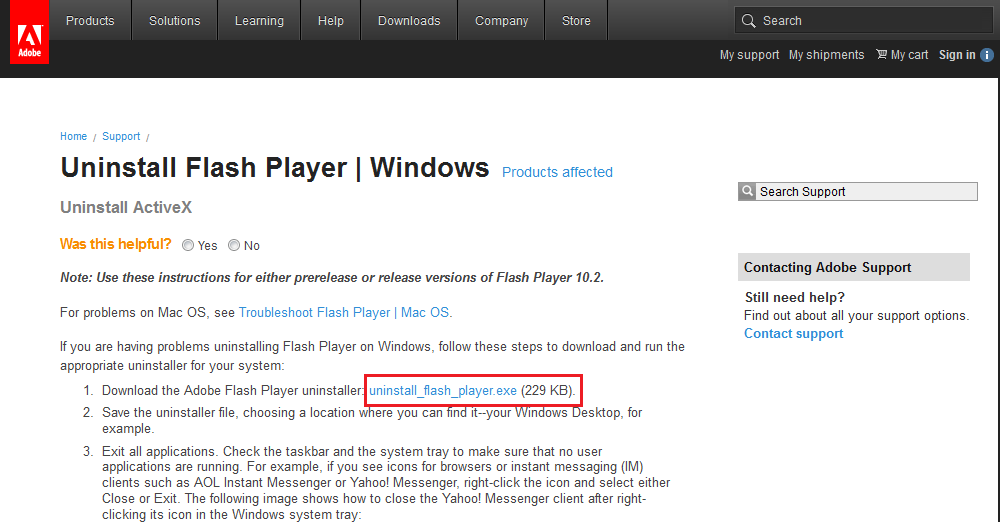 How to Repair Adobe Flash Player - Screenshots